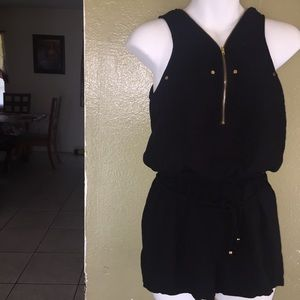 Romper with gold zipper perfect for going out